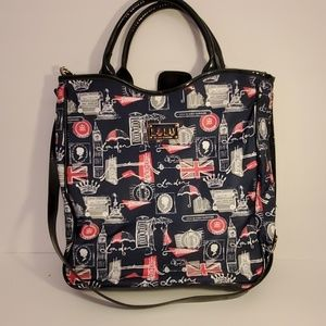 Lulu Guiness Black / White / Red London Print Bag